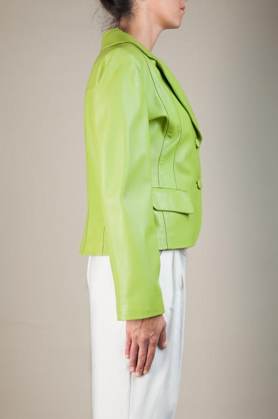 72d7b4f77c302 Zielony żakiet ze skóry-Atelier Jakubczak